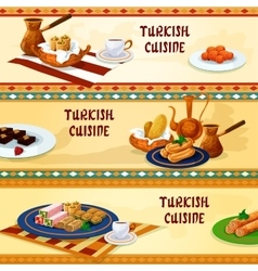 Turkish cuisine dessert menu banners vector