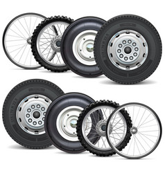 vehicle wheels double set vector image