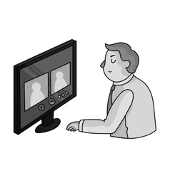 Video conference icon in monochrome style isolated vector image