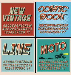 vintage fonts set retro style letters and vector image