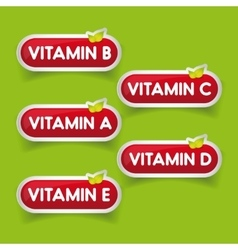 Vitamins button set vector