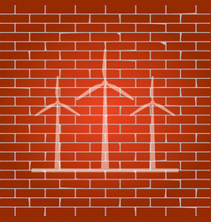 wind turbines sign whitish icon on brick vector image