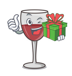With gift wine mascot cartoon style vector