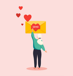 woman send love message a letter in flat style vector image
