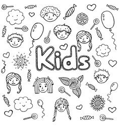word kids - coloring page for adults and children vector image