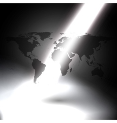 world map in the rays of light on gray background vector image