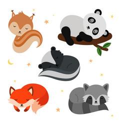 adorable flat sleeping animals set vector image vector image