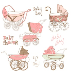 Baby Carriage Set vector image vector image