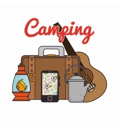 camping equipment set icons vector image
