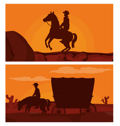 cowboy on horse silhouette vector image