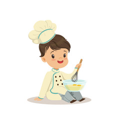 cute little boy chef with mixing bowl and a whisk vector image