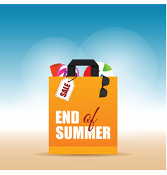 paper bag orange with end of summer on it vector image vector image