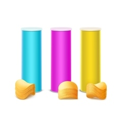 Set of Colored Tin Box with Stack Potato Chips vector image