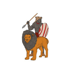 african warrior spear hunting with lion drawing vector image vector image