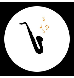 black simple isolated saxophone musical instrument vector image vector image