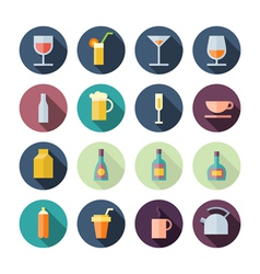 Flat Design Icons For Drinks vector image