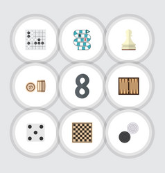 flat icon play set of chequer pawn chess table vector image