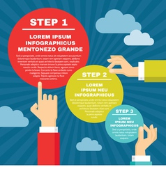 Human Hands with Infographic Round Blocks vector image vector image