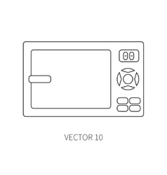 Line flat kitchenware icons - microwave vector image