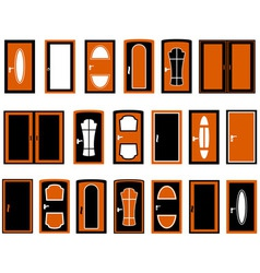 set isolated doors silhouette vector image vector image