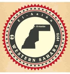 Vintage label-sticker cards of Western Sahara vector image vector image