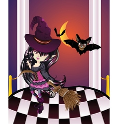 Halloween Witch on Balcony2 vector image vector image