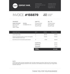 invoice template - black and white version vector image vector image