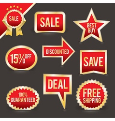 Red and Gold Foiled sale labels and badges vector image