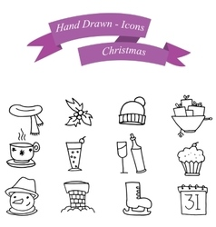 Set of Christmas icons festive collection vector image