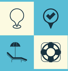 travel icons set collection of map pointer vector image