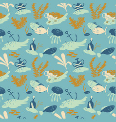 wallpaper with fishers jellyfishes and old vases vector image
