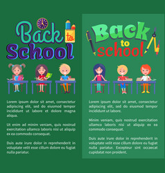 Back to school posters with stationary and pupils vector