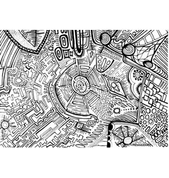 black white decorative abstract pattern maze of vector image