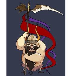 cartoon aggressive man viking with a banner vector image vector image