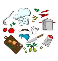 Chef cooking a vegetarian salad vector image vector image