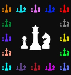 Chess game icon sign lots of colorful symbols for vector