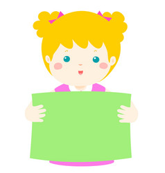 cute girl holding blank banner vector image vector image