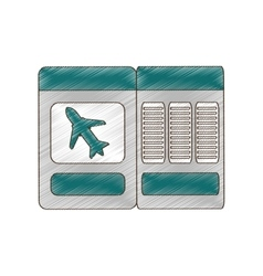 drawing ticket airplane travel vector image vector image