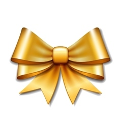 Golden gift bow on white background vector image vector image