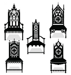 Gothic style chairs set vector image