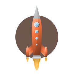 orange space rocket with blue portholds on brown vector image