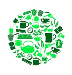 tea theme green simple icons set in circle eps10 vector image