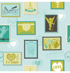 Valentine Stamps Love Background vector image