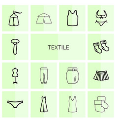 14 textile icons vector image