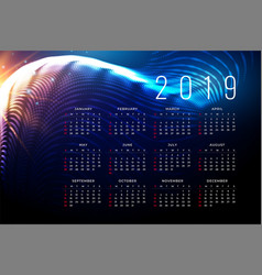 2019 calendar poster design in technology style vector