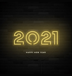 2021 happy new year neon card vector image