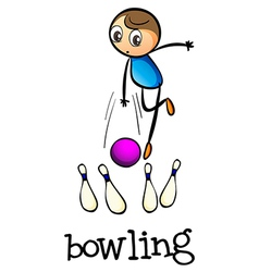 A stickman bowling vector