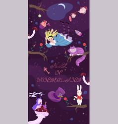Alice s banner in wonderland falls vector