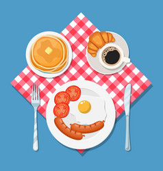 Appetizing delicious breakfast of coffee vector