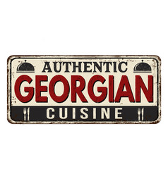Authentic georgian cuisine vintage rusty metal vector